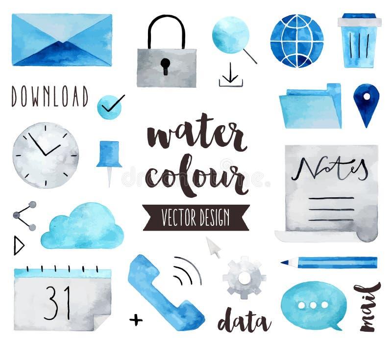 Objekt för vektor för vattenfärg för affärskommunikation stock illustrationer