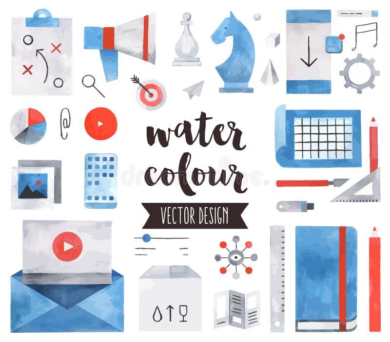 Objekt för vektor för vattenfärg för affärsstrategi royaltyfri illustrationer