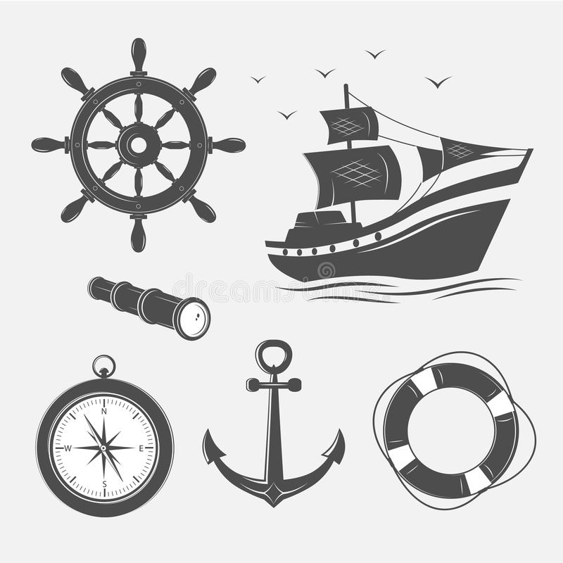 Objekt på det marin- temat stock illustrationer
