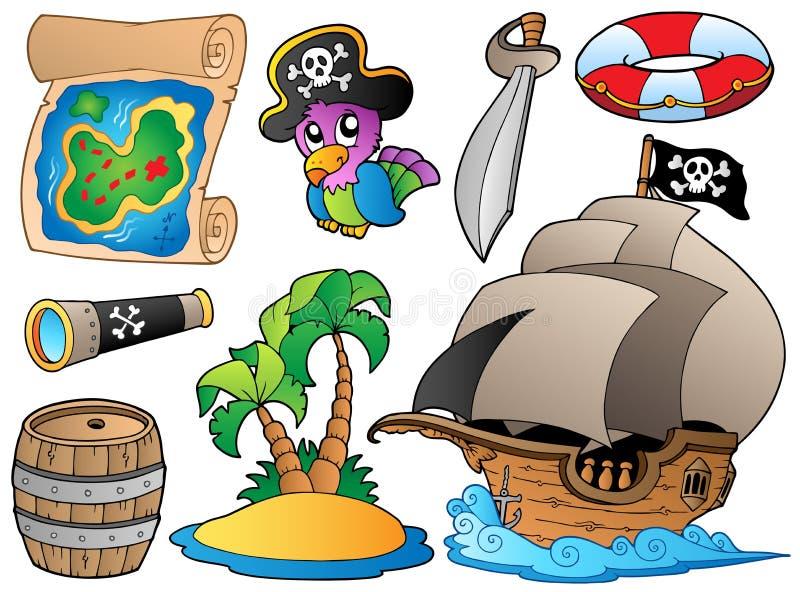 objekt piratkopierar set olikt vektor illustrationer