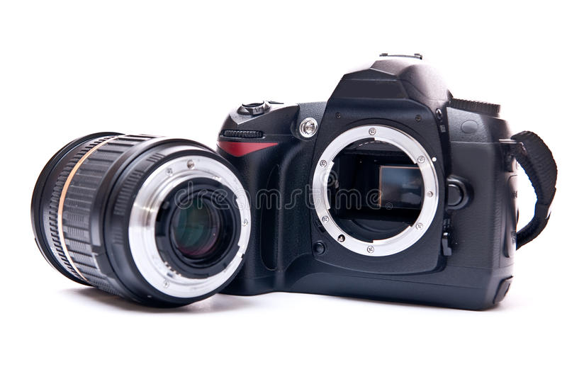 Objektiv und Kamera stockbild