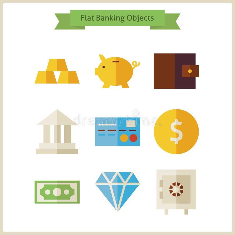 Objektuppsättning för plana pengar och bankrörelse royaltyfri illustrationer