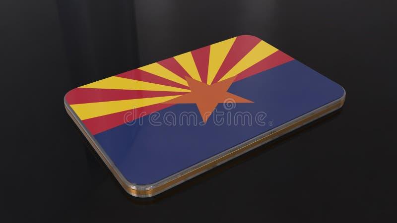 Objet brillant de drapeau de l'Arizona 3D d'isolement sur le fond noir illustration stock