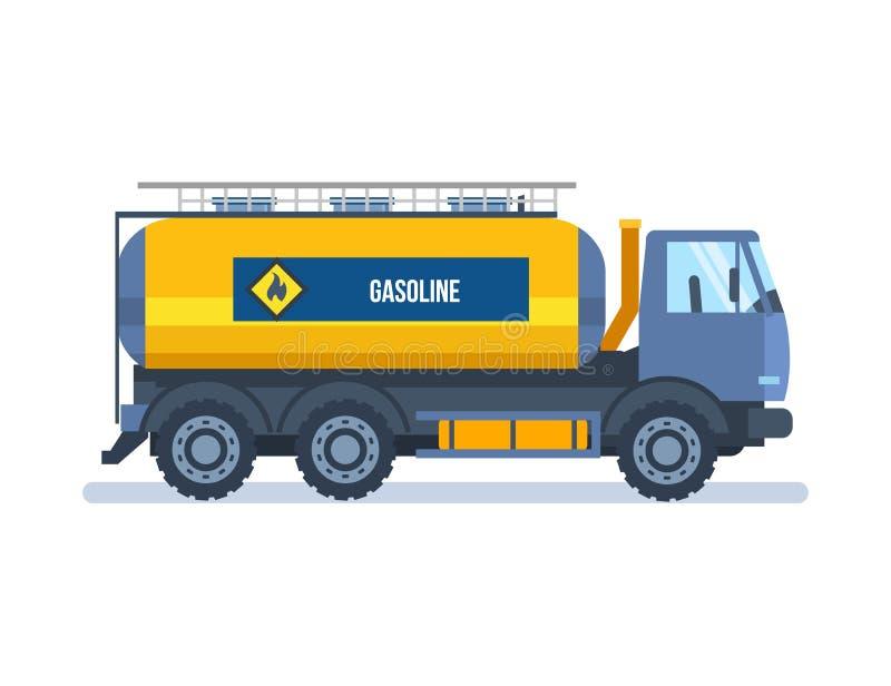 Objet d'industrie pétrolière  Essence de transport de voiture colorée dans le réservoir illustration stock