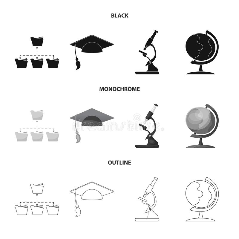Objet d'isolement d'éducation et d'icône d'étude Ensemble d'éducation et de symbole boursier d'école pour le Web illustration stock