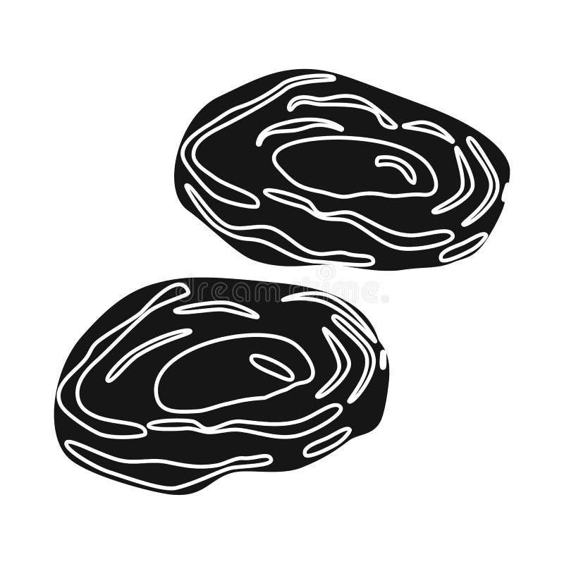 Objet d'isolement d'abricot et d'icône sèche Placez de l'abricot et de l'icône décorative de vecteur pour des actions illustration stock