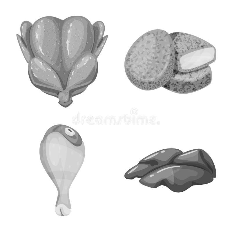 Objet d'isolement de cuisine et de logo d'oiseau Collection de cuisine et de symbole boursier de volaille pour le Web illustration libre de droits