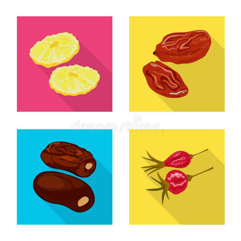 Objet d'isolement de fruit et de logo sec Placez du symbole boursier de fruit et de nourriture pour le Web illustration de vecteur