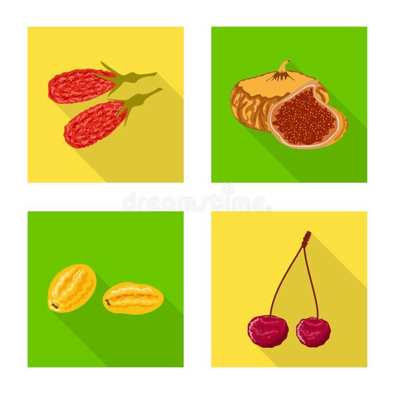 Objet d'isolement de fruit et de symbole sec Placez de l'ic?ne de vecteur de fruit et de nourriture pour des actions illustration stock