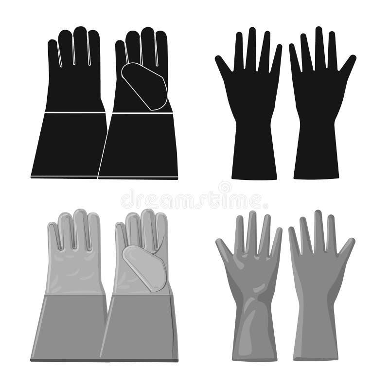 Objet d'isolement de gant et de symbole d'hiver Ensemble de symbole boursier de gant et d'?quipement pour le Web illustration stock