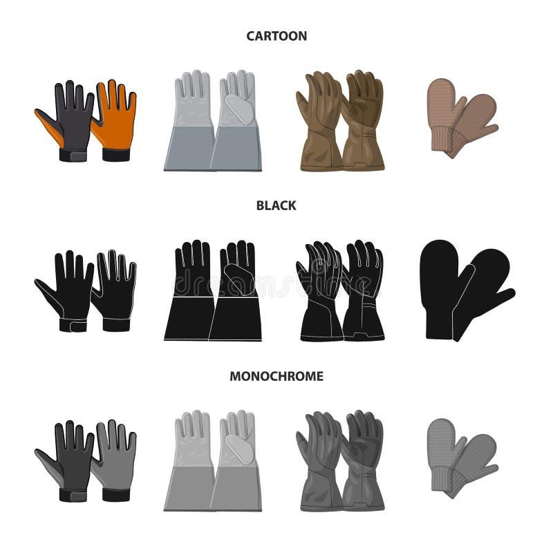 Objet d'isolement de gant et de symbole d'hiver Ensemble d'ic?ne de vecteur de gant et d'?quipement pour des actions illustration libre de droits