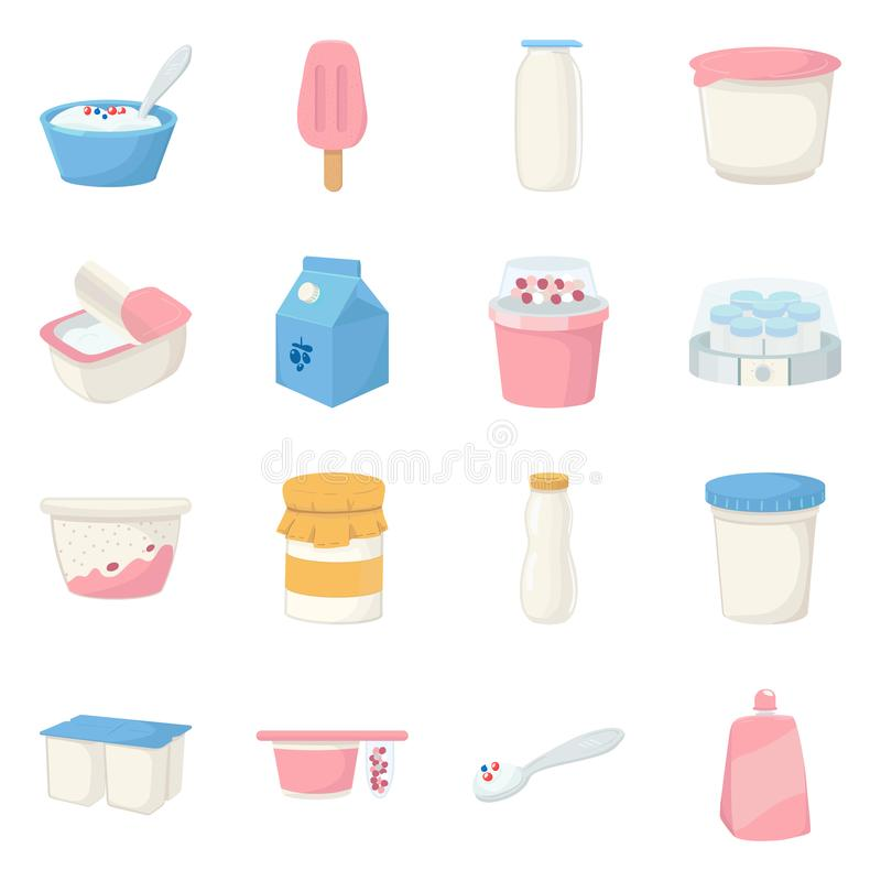 Objet d'isolement de laiterie et d'icône fraîche Collection d'icône de vecteur de laiterie et de nourriture pour des actions illustration de vecteur