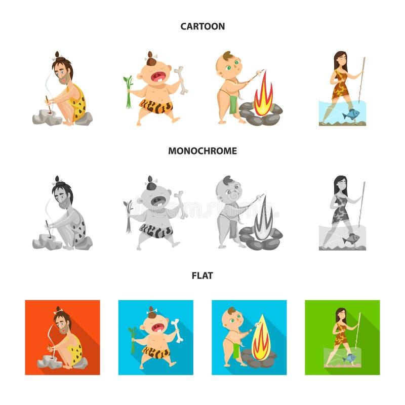 Objet d'isolement de logo d'évolution et de préhistoire Collection d'icône de vecteur d'évolution et de développement pour des ac illustration de vecteur