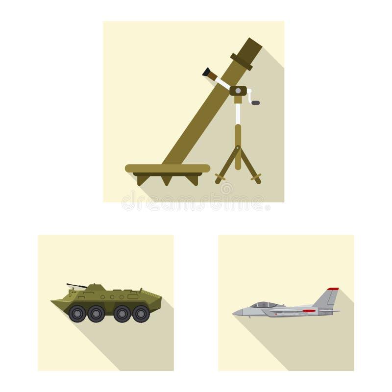 Objet d'isolement de logo d'arme et d'arme à feu Collection d'icône de vecteur d'arme et d'armée pour des actions illustration stock