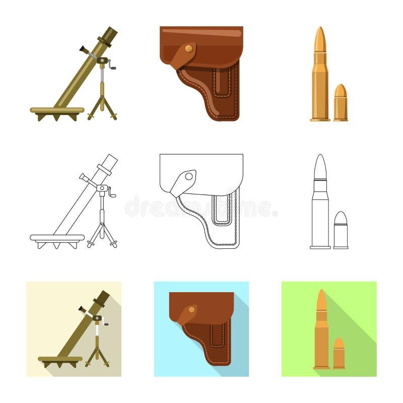 Objet d'isolement de logo d'arme et d'arme à feu Collection d'icône de vecteur d'arme et d'armée pour des actions illustration libre de droits