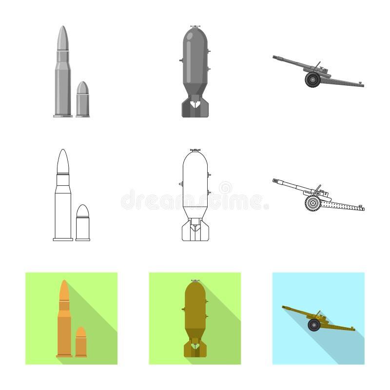 Objet d'isolement de logo d'arme et d'arme à feu Collection de l'illustration courante de vecteur d'arme et d'armée illustration stock