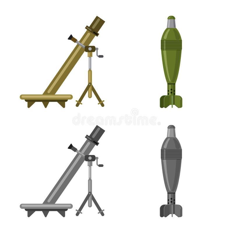 Objet d'isolement de logo d'arme et d'arme à feu Collection de l'illustration courante de vecteur d'arme et d'armée illustration de vecteur