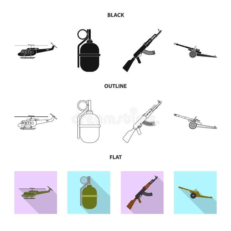 Objet d'isolement de logo d'arme et d'arme à feu Collection de symbole boursier d'arme et d'armée pour le Web illustration stock