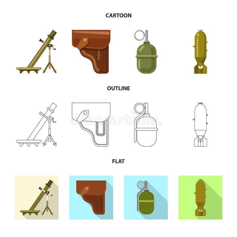 Objet d'isolement de logo d'arme et d'arme à feu Collection de symbole boursier d'arme et d'armée pour le Web illustration de vecteur