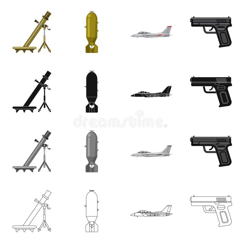 Objet d'isolement de logo d'arme et d'arme à feu Ensemble d'icône de vecteur d'arme et d'armée pour des actions illustration stock