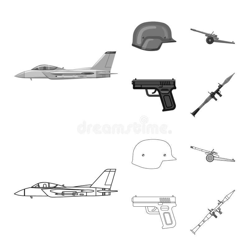 Objet d'isolement de logo d'arme et d'arme à feu Ensemble d'illustration courante de vecteur d'arme et d'armée illustration de vecteur