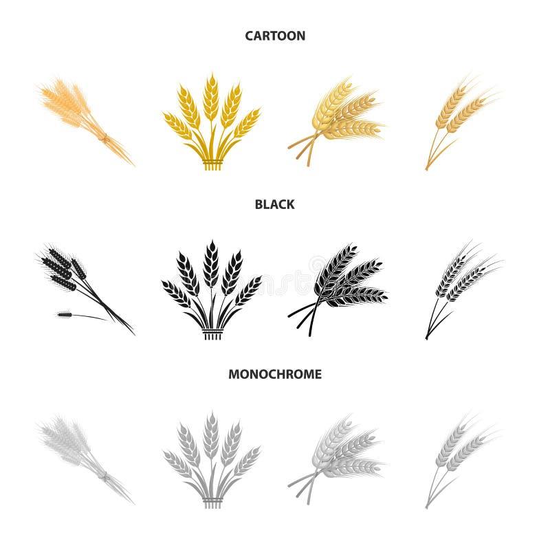 Objet d'isolement de logo de bl? et de tige Placez du symbole boursier de bl? et de grain pour le Web illustration de vecteur