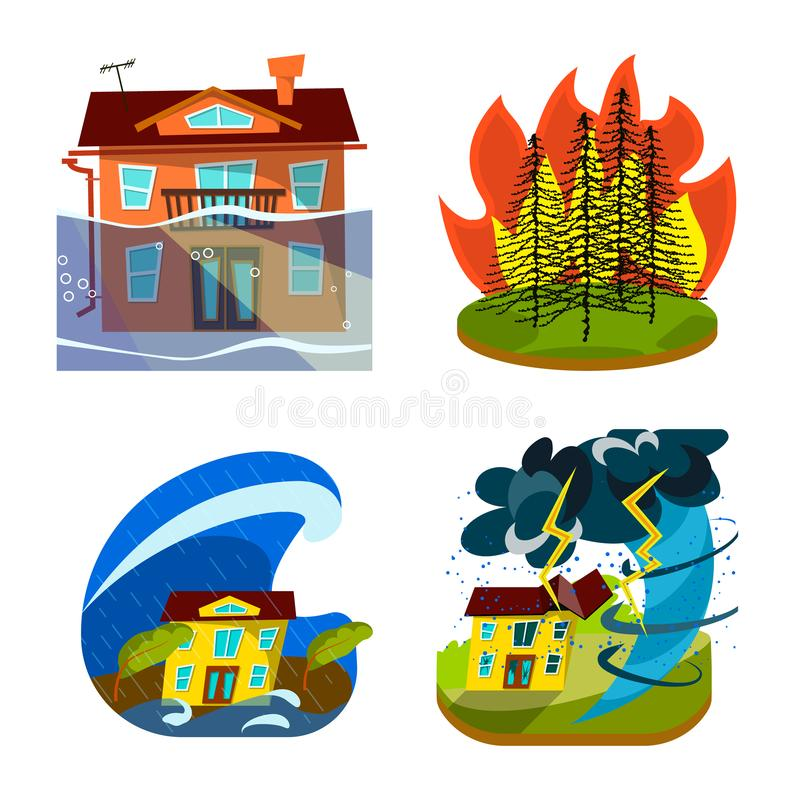 Objet d'isolement de logo de cataclysme et de catastrophe Placez du symbole boursier de cataclysme et d'apocalypse pour le Web illustration de vecteur