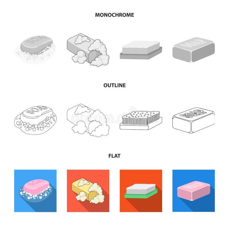 Objet d'isolement de logo de savon et de salle de bains Collection de savon et d'illustration courante de empaquetage de vecteur illustration libre de droits