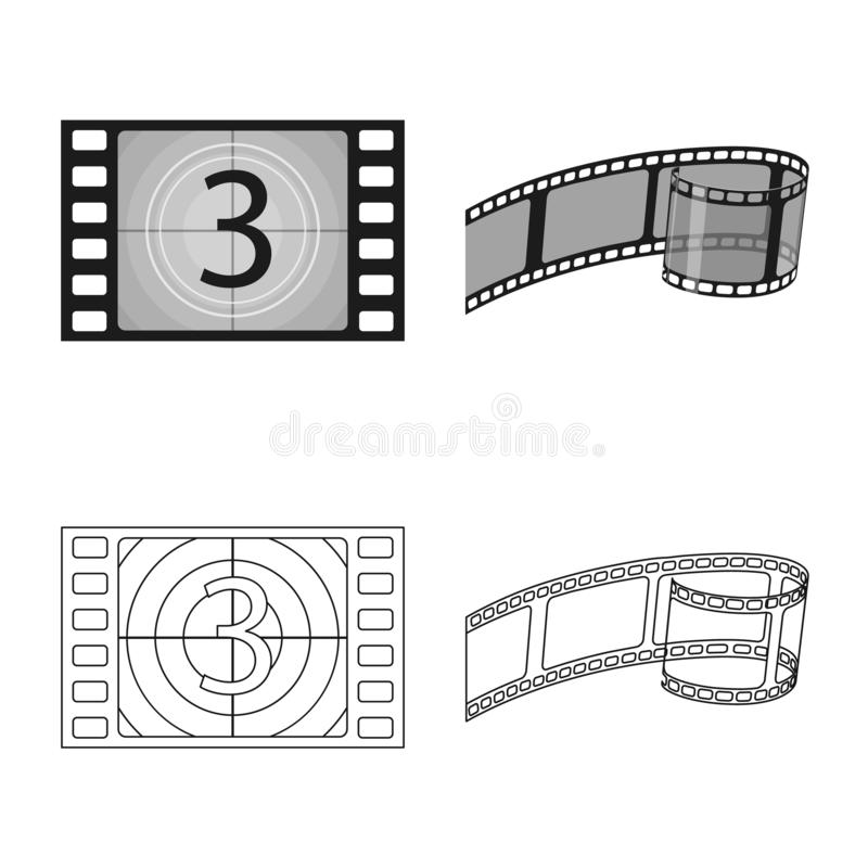 Objet d'isolement de logo de t?l?vision et de pelliculage Collection de t?l?vision et d'illustration courante de visionnement de  illustration libre de droits