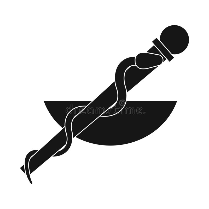 Objet d'isolement de logo de tige et de serpent Collection d'icône de vecteur de tige et d'asklepios pour des actions illustration libre de droits
