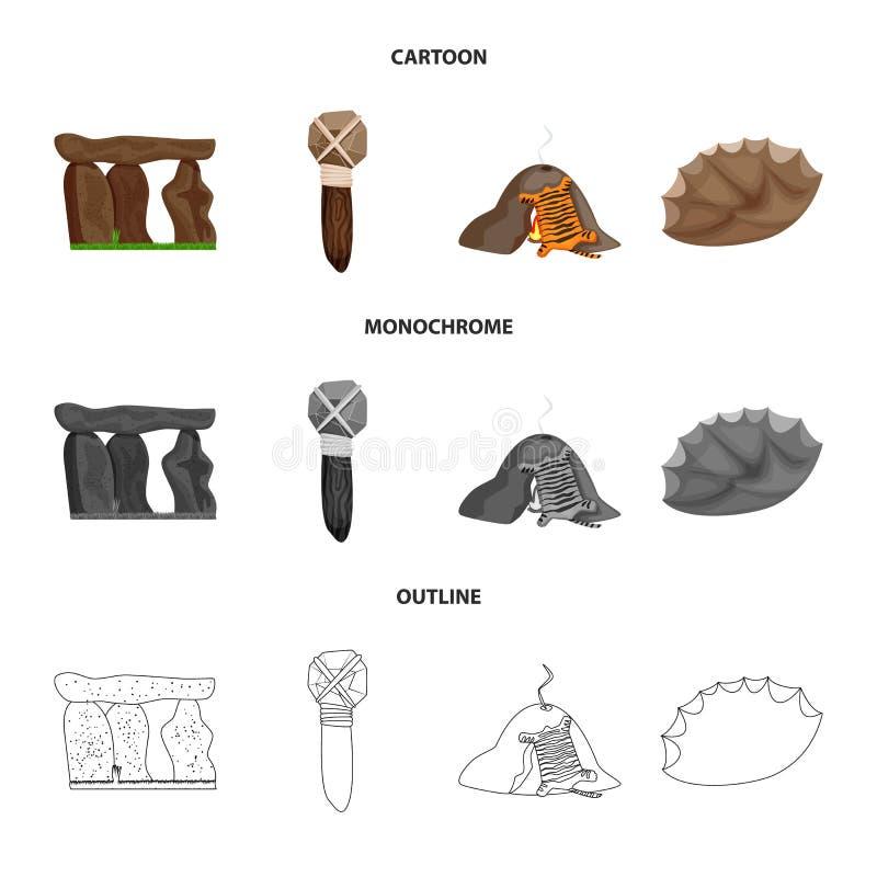 Objet d'isolement de signe d'évolution et de préhistoire Collection de l'illustration courante de vecteur d'évolution et de dével illustration libre de droits