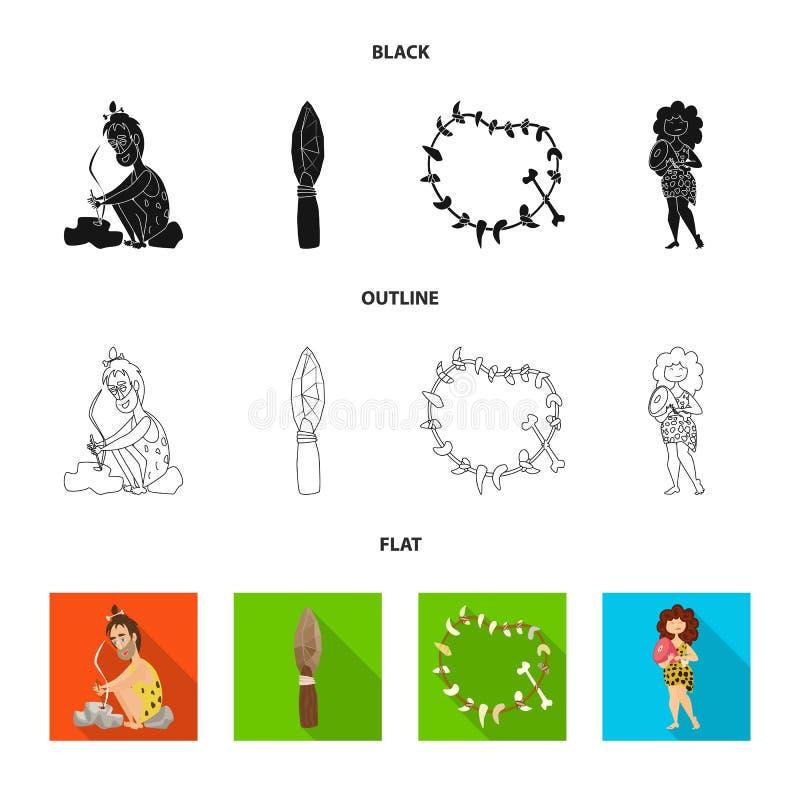 Objet d'isolement de signe d'évolution et de préhistoire Placez de l'icône de vecteur d'évolution et de développement pour des ac illustration libre de droits