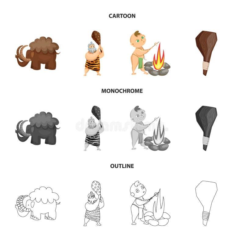 Objet d'isolement de signe d'évolution et de préhistoire Placez de l'illustration courante de vecteur d'évolution et de développe illustration de vecteur