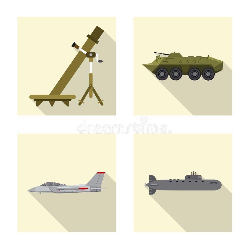 Objet d'isolement de signe d'arme et d'arme à feu Collection d'icône de vecteur d'arme et d'armée pour des actions illustration stock