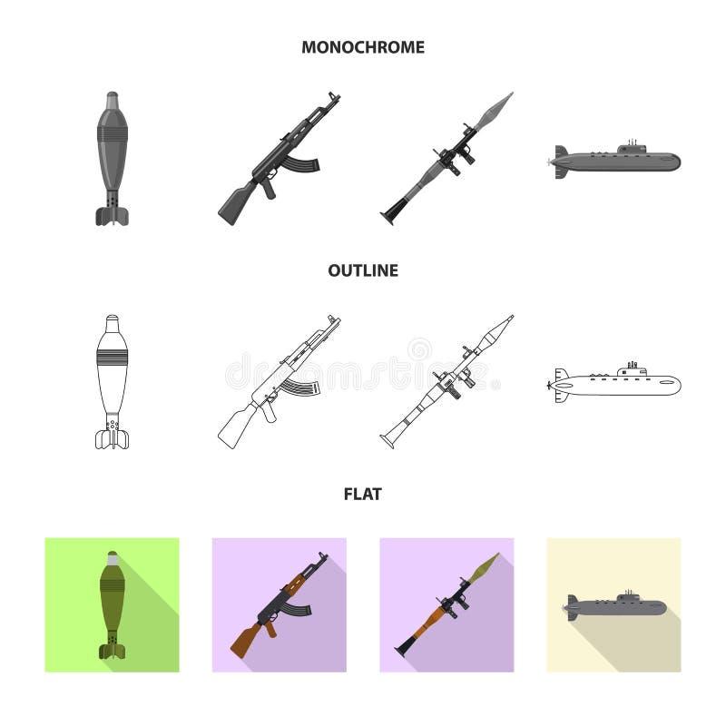 Objet d'isolement de signe d'arme et d'arme à feu Collection de symbole boursier d'arme et d'armée pour le Web illustration libre de droits