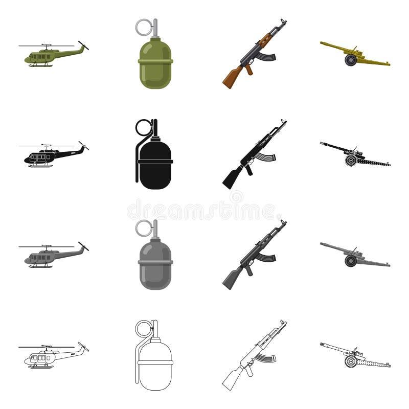 Objet d'isolement de signe d'arme et d'arme à feu Collection de symbole boursier d'arme et d'armée pour le Web illustration stock