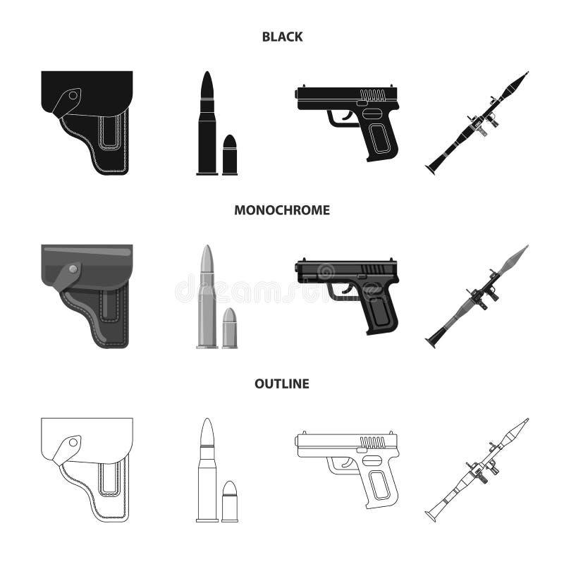 Objet d'isolement de signe d'arme et d'arme à feu Ensemble d'icône de vecteur d'arme et d'armée pour des actions illustration stock
