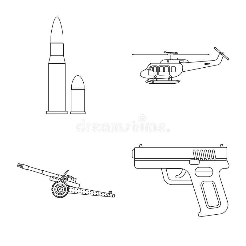 Objet d'isolement de signe d'arme et d'arme à feu Ensemble d'icône de vecteur d'arme et d'armée pour des actions illustration de vecteur