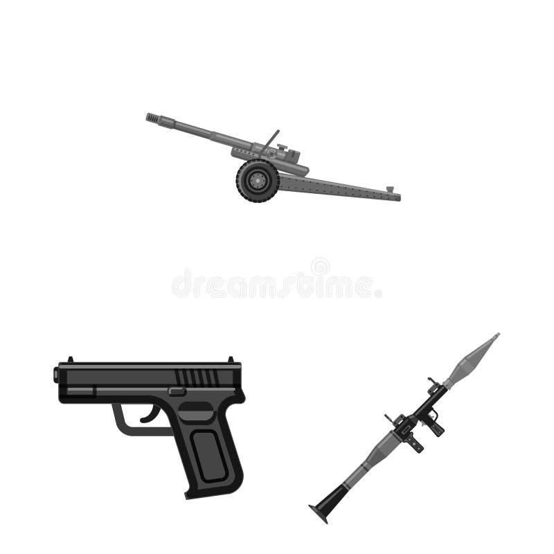 Objet d'isolement de signe d'arme et d'arme à feu Ensemble de symbole boursier d'arme et d'armée pour le Web illustration de vecteur