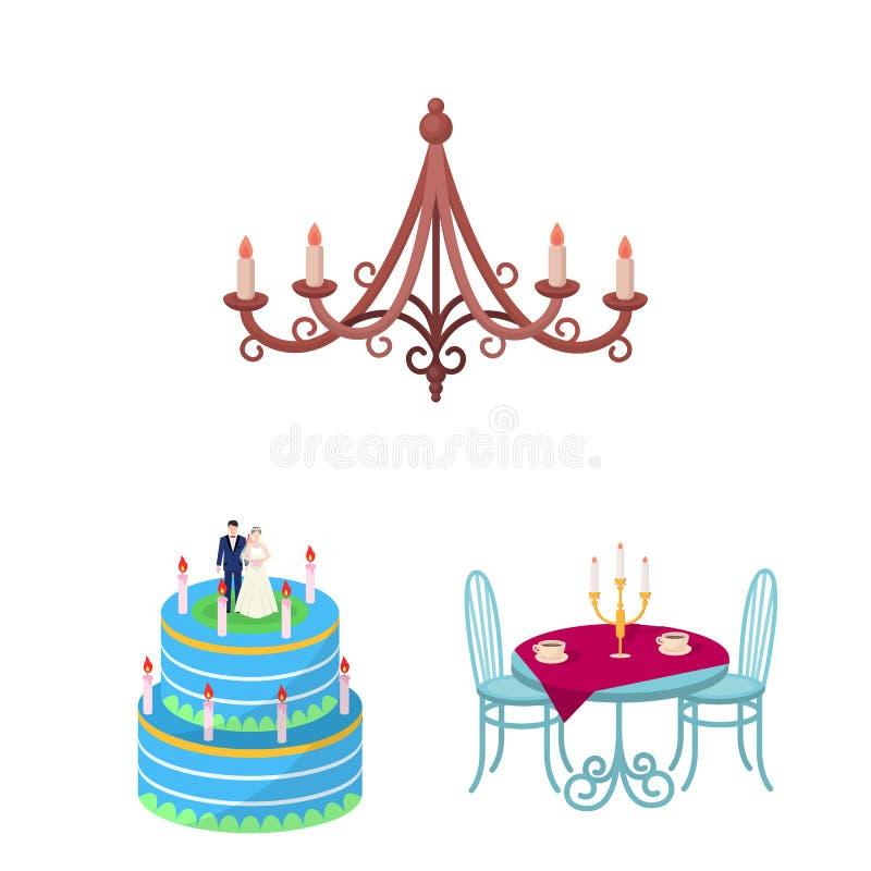 Objet d'isolement de signe de bougie et de chandelier Placez de l'icône de bougie et de vecteur d'église pour des actions illustration stock