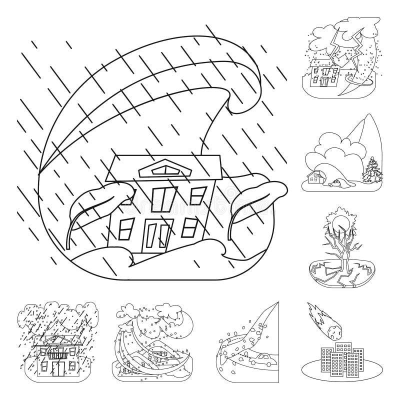 Objet d'isolement de signe de cataclysme et de catastrophe Placez du symbole boursier de cataclysme et d'apocalypse pour le Web illustration stock