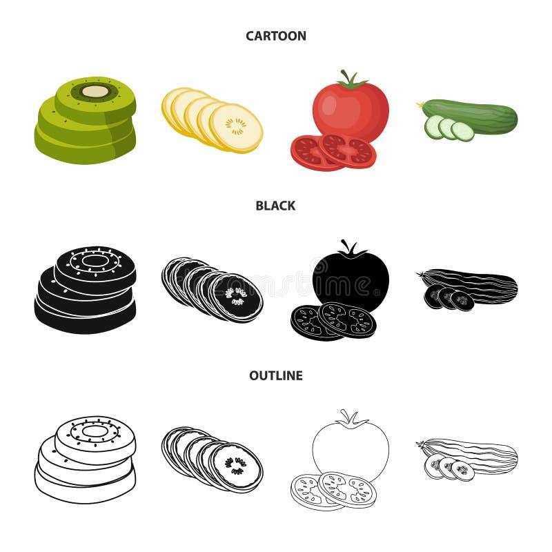 Objet d'isolement de signe de l?gume et de fruit Collection d'ic?ne de vecteur de l?gume et de nourriture pour le bouillon illustration stock
