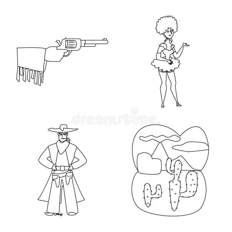 Objet d'isolement de signe occidental et am?ricain Placez de l'illustration de vecteur occidentales et de ferme d'actions illustration de vecteur