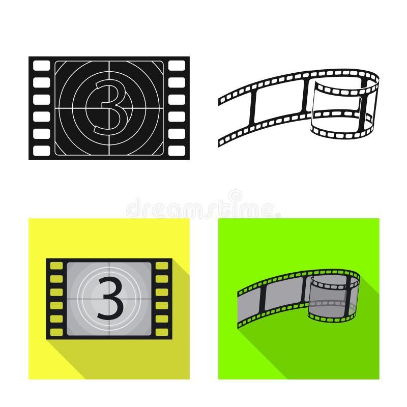 Objet d'isolement de signe de t?l?vision et de pelliculage Collection de t?l?vision et de symbole boursier de visionnement pour l illustration stock