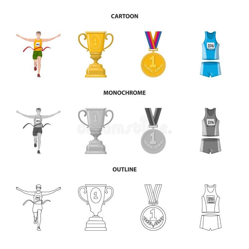 Objet d'isolement de sport et d'ic?ne de gagnant Placez de l'ic?ne de vecteur de sport et de forme physique pour des actions illustration de vecteur