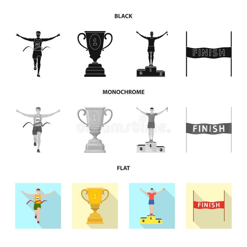 Objet d'isolement de sport et de logo de gagnant Collection de l'illustration courante de vecteur de sport et de forme physique illustration de vecteur