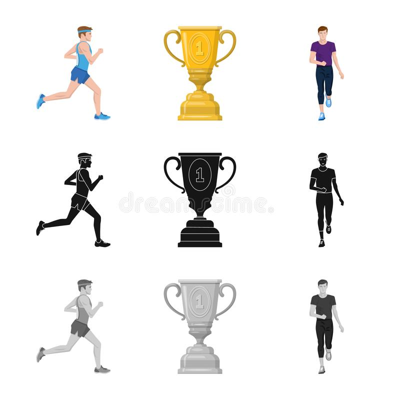 Objet d'isolement de sport et de logo de gagnant Placez de l'illustration courante de vecteur de sport et de forme physique illustration libre de droits
