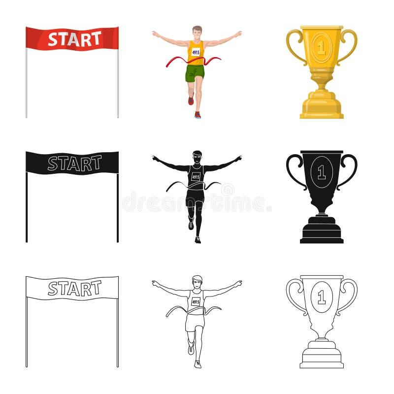 Objet d'isolement de sport et de signe de gagnant Collection de symbole boursier de sport et de forme physique pour le Web illustration stock