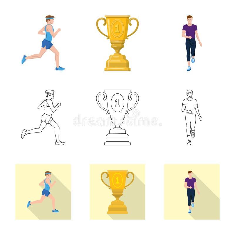 Objet d'isolement de sport et de symbole de gagnant Collection de l'illustration courante de vecteur de sport et de forme physiqu illustration stock
