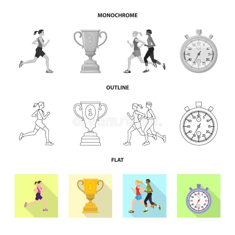 Objet d'isolement de sport et de symbole de gagnant Placez de l'ic?ne de vecteur de sport et de forme physique pour des actions illustration libre de droits
